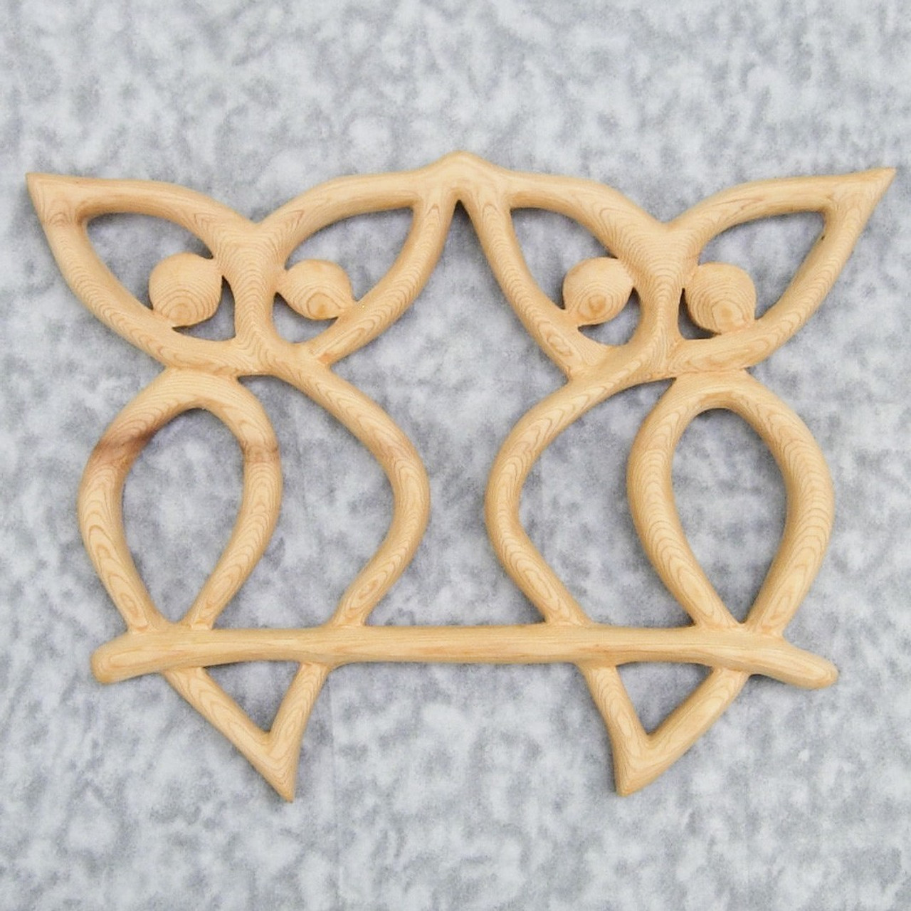 Celtic Owl Love Knot - Wood Carved Owl Couple - Wisdom and Intelligence,  Messages and Secrets, Protection