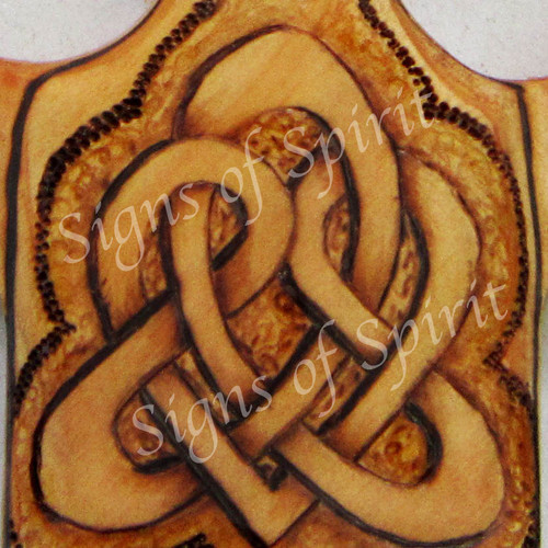 Love and Peace Celtic Christian Cross-Traditional Celtic Heart-Wood burned carving