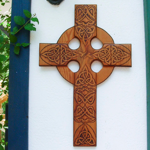 One of a Kind-Large Peace and Harmony Celtic Christian Cross Wood Burned