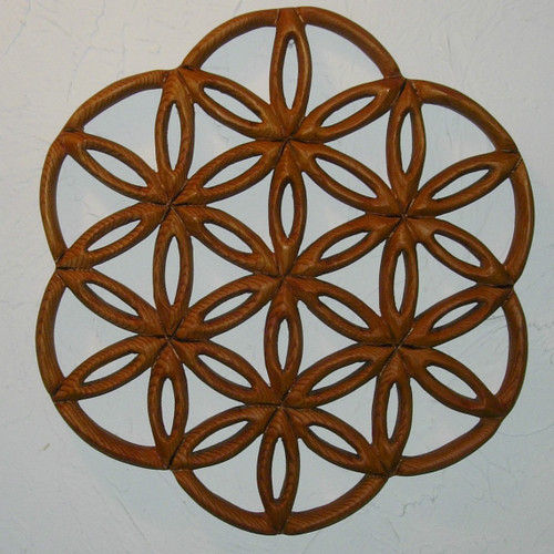 "Wood Carved ""Flower of Life"" by Signs of Spirit."
