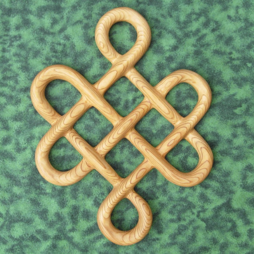 Knot of Longevity Carved Celtic Symbol of Long Life Traditional Celtic Knotwork Wood Carving Irish Scottish Home Decor Birthday gift