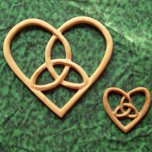 Trinity Heart Shaped Celtic Wood Carving Hearts Belief Wall Hanging  Holy Trinity Home Decor