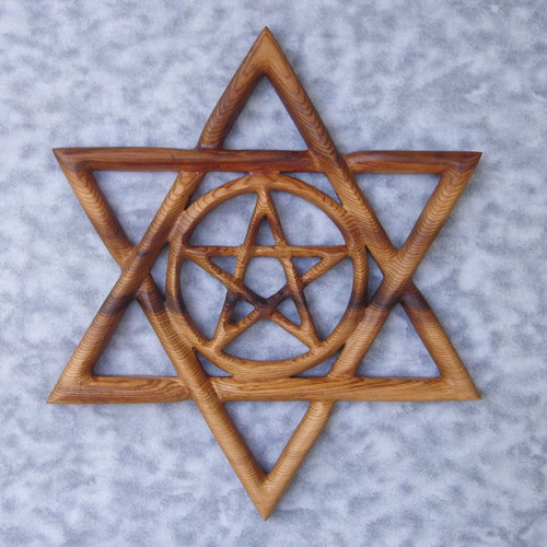 """""""Kabbalistic Star"""" wood carving by Signs of Spirit.  Hand carved from Western Red Cedar."""