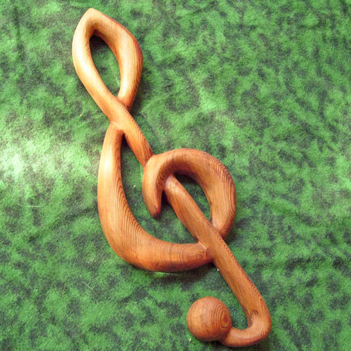 Miniature Treble Clef-Wood Carved Musical Notation Wall Hanging