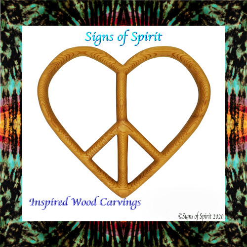 Peace and Love Heart shaped Peace sign by Signs of Spirit
