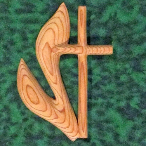 Miniature Methodist Cross by Signs of Spirit. Cross and Flame of the United Methodist Church by Signs of Spirit. Inspired Wood Carving of UMC Cross and Flame by Signs of Spirit.