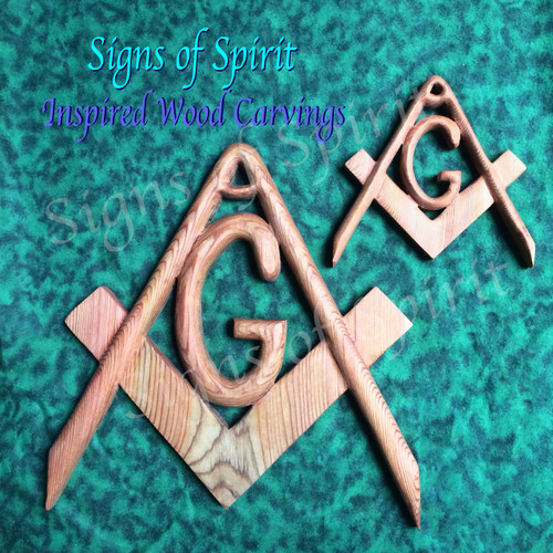 Masonic Symbol, Freemasonry Emblem, Inspired Wood Carving by Signs of Spirit.  Full and Miniature Size.