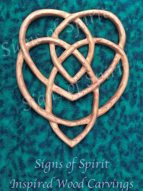 Celtic Knot of Motherhood, Two Hearts Entangled, Well-spring of Love wood carving by Signs of Spirit