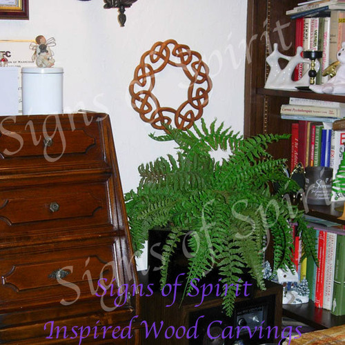 Celtic Wreath-Knot of Welcome, Warmth and Family-Wood Carved Hearth Knot