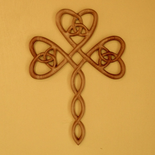 Irish Christian Trinity Heart Shamrock Cross-Celtic Three Leaf Clover-St Patricks Holy Trinity Wood Carved Cross