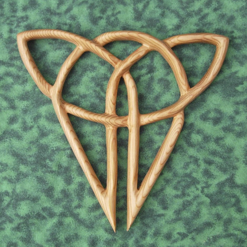 Traditional Celtic Cat Knot of Independence-Celtic Wood Carved Feline-Triquetra variation
