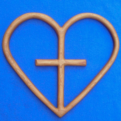 Cross Your Heart-Christian Cross and Heart-Heart Shaped Wood Carving