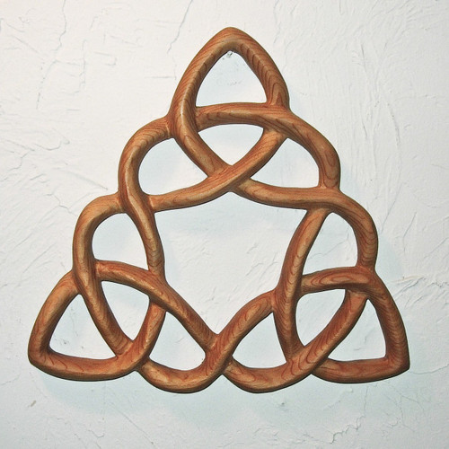 """Cloverleaf Triquetra"" wood carving by Signs of Spirit. Hand carved  from Western Red Cedar."