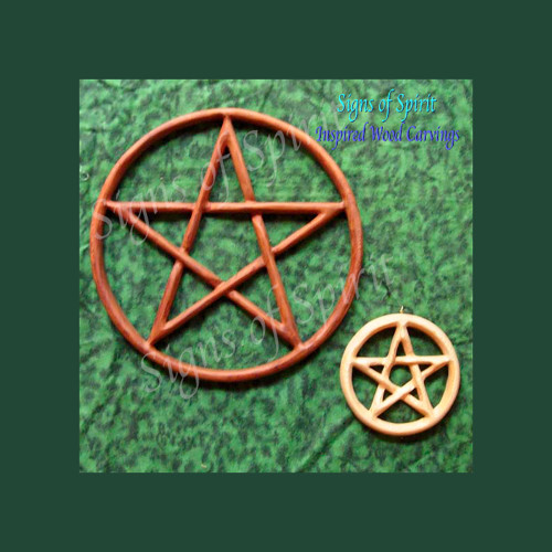 Pentacle wood carving by Signs of Spirit ~ Full and Miniature