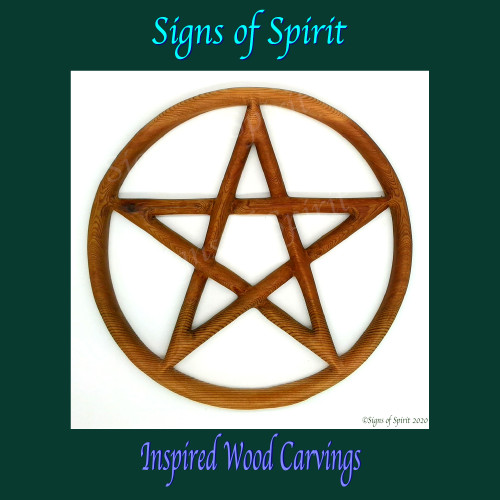 Pentacle wood carving by Signs of Spirit