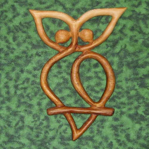 Celtic Owl Knot Wood Carved by Signs of Spirit