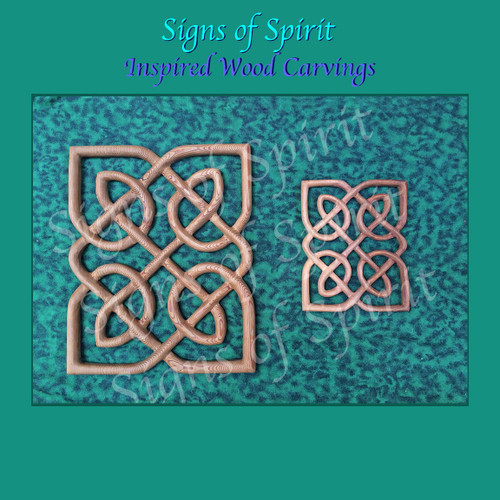 Matrimonial Knot Panel, Full and Miniature size. Symbol of Endless Devotion thru the Seasons of Your Relationship. Wood Carved Celtic Love Knot by Signs of Spirit