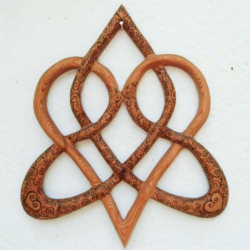 Wood Burned Stylized Celtic Heart-Knot of Everlasting-Love Triquetra Variation