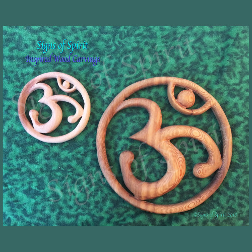 OM wood carving Sacred Wall Art by Signs of Spirit