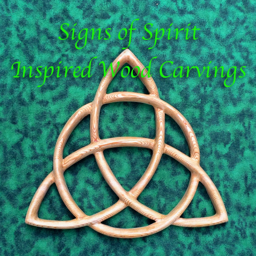 Triquetra Wood Carving-Celtic Goddess-Wiccan Protection-Christian Trinity