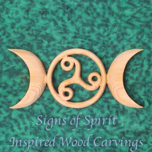 Celtic Moon Goddess Symbol with Triskele-Birth Death Rebirth-Triple Moon Goddess-Maiden Mother Crone