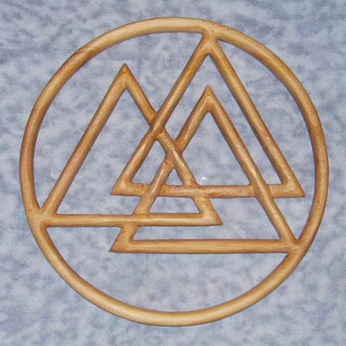 Valknut Odin Symbol wood carving by Signs of Spirit