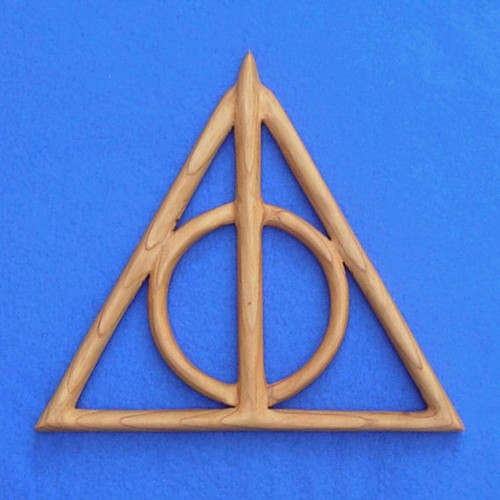 Deathly Hallows Wood Carving- Cloak of Invisibility- Resurrection Stone and Elder Wand, Harry Potter wood wall art carved by Signs of Spirit