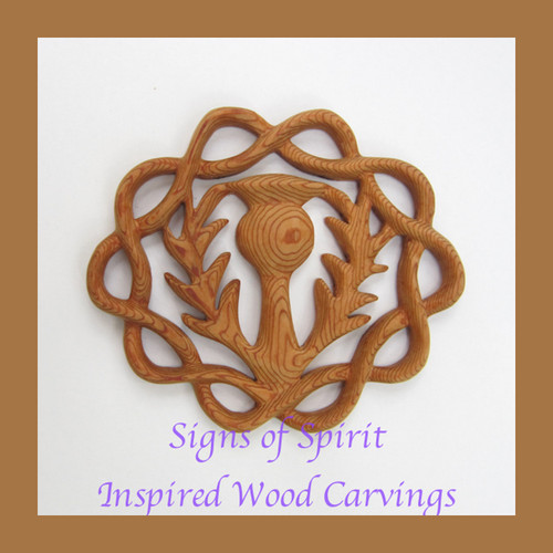 Scottish Thistle with Eternal Braid wood carving by Signs of Spirit