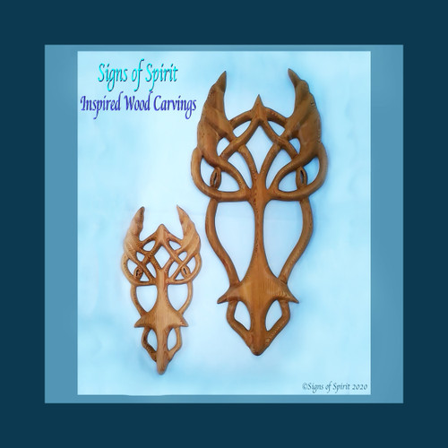 Celtic Dragon Knot wood carving by Signs of Spirit