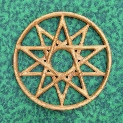 Double Pentacle wood carving by Signs of Spirit