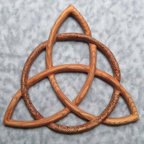 Wood Burned Triquetra Celtic Goddess-Wiccan Protection-Christian Trinity
