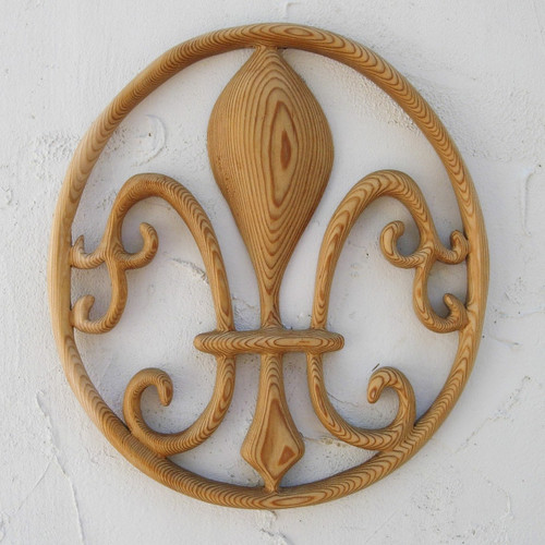 Fleur-de-Lis Wood Carving Symbol of New Orleans Saints and Mardi Gras French Kings Greek Goddess Hera and Virgin Mary