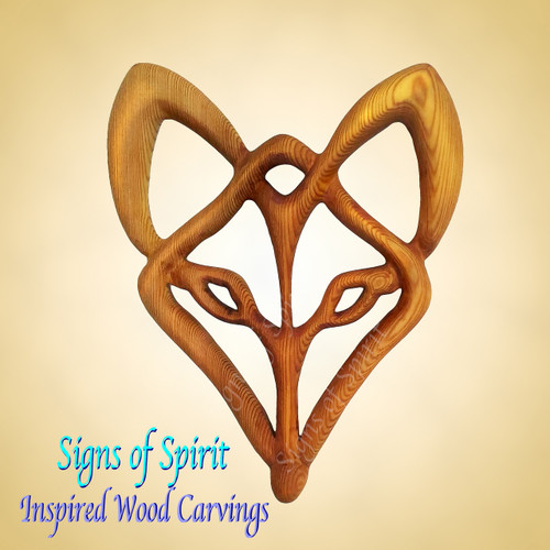 Celtic Fox Spirit wood carving by Signs of Spirit.