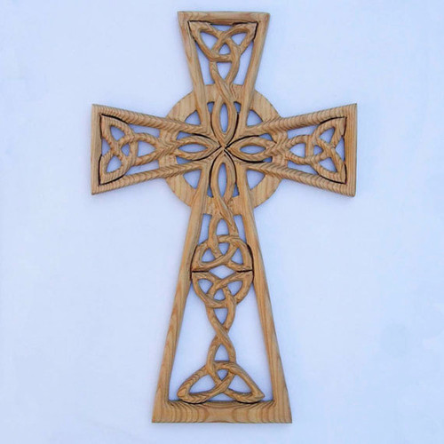 Trinity Knots and Serch Bythol Woven Celtic Cross-Wood Carved Cross