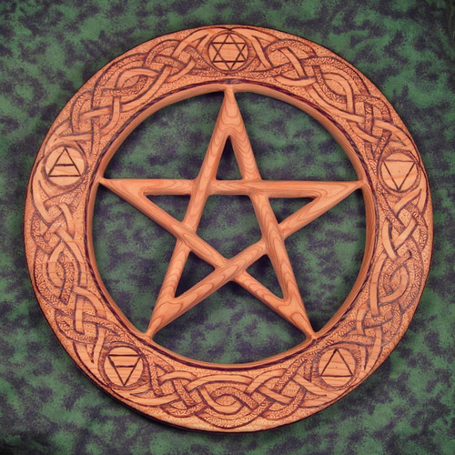 Elemental Pentacle Wood Burned Carving-Earth, Water, Air, Fire, Spirit