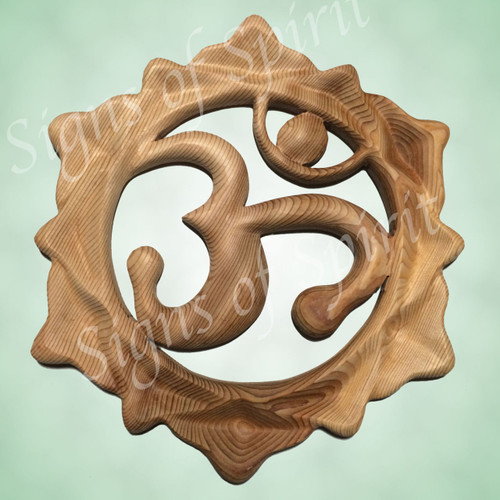 Lotus Om wood carving by Signs of Spirit