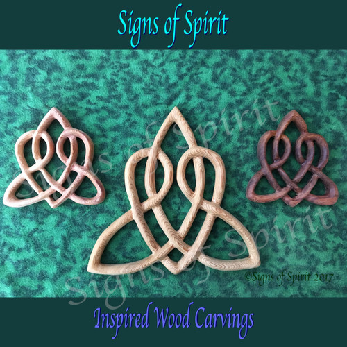 Celtic Heart Love Knot, Triquetra of Everlasting Love Wood Carved Wedding-Fifth Anniversary Gift-Irish Scottish Gaelic Themed home decor by Signs of Spirit
