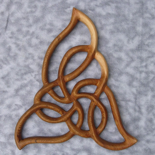 Celtic Flame Knot-Cleansing and Renewal-Wood Carved Triquetra Variation-Spiral