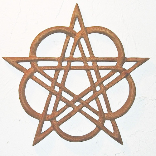 Celtic Healing Pentacle - Heart Pentacle Wood Carved Celtic Knot
