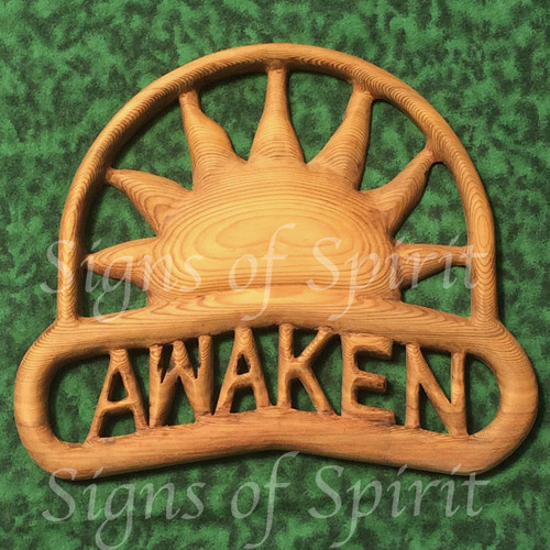 Awaken Sunrise wood carving by Signs of Spirit.