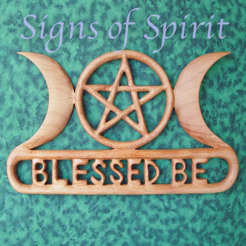 Triple Moon Goddess, Blessed Be with Pentacle wood carving by Signs of Spirit