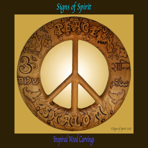Wood burned Peace Symbol:  Words of Peace in Many Languages by Signs of Spirit.