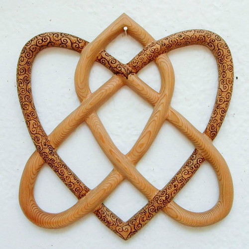 Irish Love Knot carved by Mark Cooper, Wood burned by Katrina Hoffman