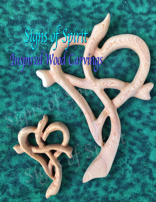 Heart Cross-Standard and Mini-Inspired Wood Carving by Signs of Spirit