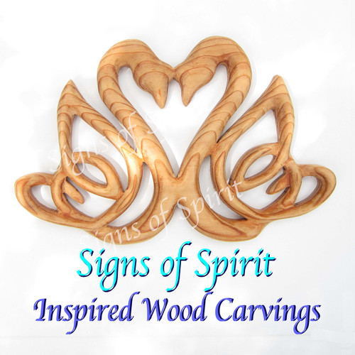 Celtic Swan Heart wood carving by Signs of Spirit.