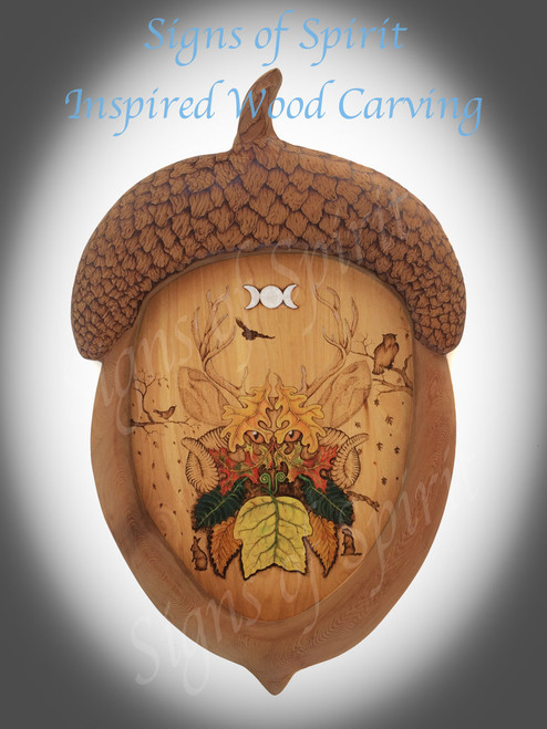 Autumn Green Man in Acorn Frame-Painted Wood burning of Cernunnos - The Antlered God