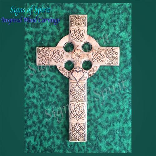 Irish Wedding Cross - Celtic Christian Cross wood burned with Irish Love Knot, Matrimonial Panel, Claddagh and Shamrock by Signs of Spirit
