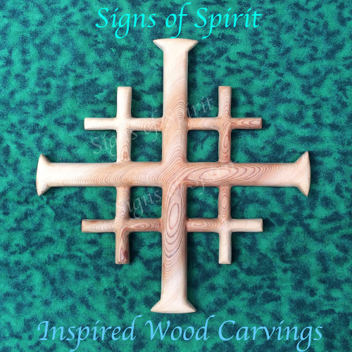 Jerusalem Cross by Signs of Spirit, Inspired Wood Carvings