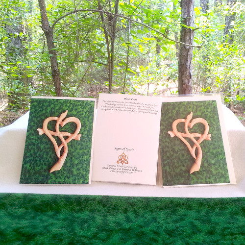 Heart Cross on Green Greeting Card by Signs of Spirit, Front, Back and wrapped in clear protective bag.