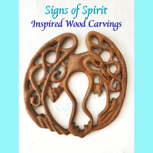 Celtic Raven Knot Wood Carving by Signs of Spirit